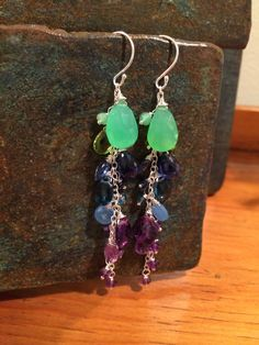 Cascading hanging earrings...chrysoprase, peridot, kynite, London blue topaz and amethyst