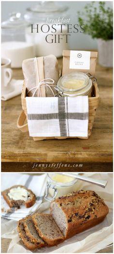 easy breakfast bread and honey butter hostess gift basket