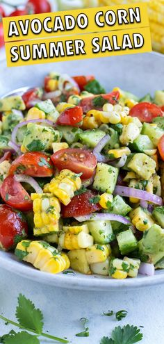 1 reviews · 20 minutes · Vegan Gluten free · Serves 6 · This Avocado Corn Salad recipe is a quick and easy Summer side dish. Corn is mixed with chunks of avocado, cherry tomatoes, cucumbers, cilantro and lime juice for a light and refreshing taste. Prepare… Healthy Picnic Foods, Healthy Potluck, Healthy Summer, Healthy Bbq Recipes, Healthy Appetizers, Healthy Salads, Healthy Eats, Keto Recipes, Corn Salad Recipes