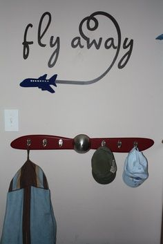 old fashioned baby room airplanes - fly away sign