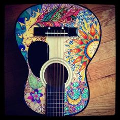 Love this hand painted guitar, and I want to paint one myself. Want in ukulele Ukulele Art, Guitar Art, Music Guitar, Banjo, Cool Guitar, Acoustic Guitar, Pub Radio, Guitar Painting, Mandolin