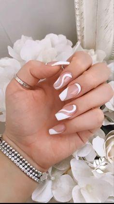 Classy Acrylic Nails, Acrylic Nails Coffin Short, White Acrylic Nails, Best Acrylic Nails, Acrylic Nail Designs, White Nail Designs, Almond Nails Designs, French Nail Designs, Summer Acrylic Nails