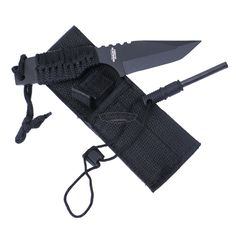 If you're going to a jungle, this is the ideal trekking equipment, camping knives and become the best hunting knives thing for you. The Camp Tanto with Fire Starter is a handy compact outdoor knife with a strong point and a comfortable nylon paracord wrapped grip. It comes with a nylon sheath that holds a fire starter. Your camp in the jungle is incomplete without this amazing contraption, essential for your safety. The 420 stainless blade is black epoxy coated for corrosion resistance. The over Best Camping Knife, Adventure Treks, Hiking Accessories, Best Hunting Knives, Outdoor Knife, Fire Starters, Fixed Blade Knife, Survival Tools, Camping Hacks