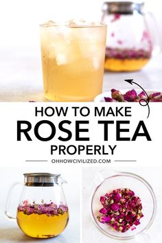 Made by infusing dried rose buds and leaves in water, this soothing herbal tea can be made by brewing the buds in hot or cold water. See my step-by-step guide on how to make the perfect cup of rose tea every time! Graham Crackers, Herbal Tea Benefits, Herbal Teas, Tumeric Tea Recipe, Rosen Tee, Iced Tea Recipes, Herbal Iced Tea Recipe, High Tea Food, How To Make Rose