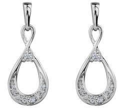 10K Infinity diamond Earrings White Gold Diamond Earrings, White Gold Diamonds, Drop Earrings, Infinity, Jewelry, Infinite, Jewlery, Bijoux, Jewerly