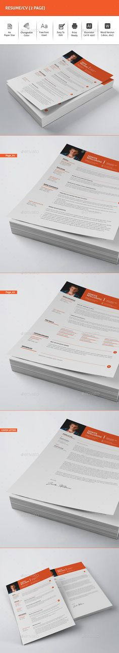 #Resume/CV (2 Page) - Resumes Stationery Download here: https://graphicriver.net/item/resumecv-2-page/19612805?ref=alena994