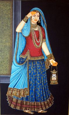 A Beautiful Woman in night. ( A Cute Woman in traditional Indian dress with night lamp). Great Miniature art work in this artwork. who love and like miniature art paintings this is a great art for them.