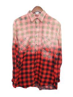 Buffalo Check Shirt, Bleached, Flannel, Red & Black, Plaid