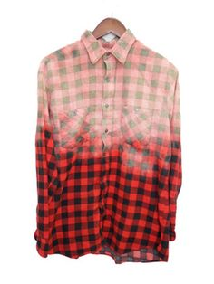 Buffalo Check Shirt, Bleached, Flannel, Red & Black, Plaid