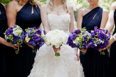 Navy-Purple-Bouquets...adding in the navy makes the purple flowers look so rich and dark!