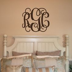 XL 22x25 MONOGRAM Wall Decal (3 Initial Design) vinyl monogram letters (W00931)