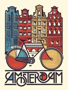 Amsterdam poster design with great typography by via Retro Poster, Vintage Travel Posters, Vintage Design Poster, Web Design, Design Art, Designers Gráficos, Pub Vintage, Vintage Art, Vintage Style