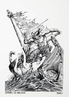 underground fantasy for your pleasure Fantasy Artwork, Dark Fantasy Art, High Fantasy, Frank Frazetta, Conan The Barbarian, Viking Art, Sword And Sorcery, Horror Comics, Pulp Art