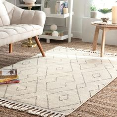 Shop The Curated Nomad Ashbury Contemporary Geometric Tassel Area Rug - On Sale - Overstock - 25555908 - x - ivory Area Rugs For Sale, Rug Sale, Trellis Pattern, Machine Made Rugs, Rugs Usa, Online Home Decor Stores, Online Shopping, Outdoor Rugs, Entryway Decor