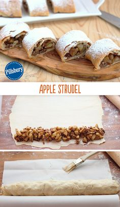 The apple strudel of your dreams has arrived! Flaky, filled with apples and pecans and incredibly easy to make recipe. Mix the delicious filling and spoons it on one corner of the rolled-out refrigerated crescent dough. Bake at 375 degrees and you're all set!