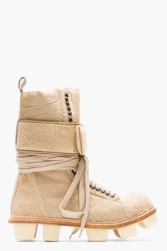 Rick Owens Beige Calf_hair Plinth Hiker Boots in Beige for Men Rick Owens, Amazing Store, Shops, My Favorite Color, Hiking Boots, High Tops, Espadrilles, Baby Shoes, Lace Up