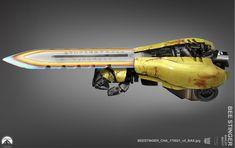 Artes do filme Reine car Paramount, por Shane Baxley Sci Fi Armor, Sci Fi Weapons, Weapon Concept Art, Fantasy Weapons, Armes Concept, Cyberpunk, Armas Ninja, Rwby Oc, Ninja Sword