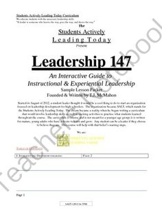 """TeamLead 147: Leadership Sample Lesson Plan Packet from TheMagicofLearning on TeachersNotebook.com -  (6 pages)  - 2 Leadership Lessons for the price of 1!  Check out the acclaimed play """"One"""" created by students, for students.  Includes a lesson on communication and its importance.."""