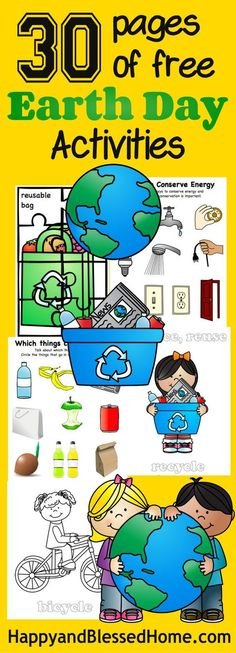 30 Pages of Free Earth Day Activities for Kids with FREE Earth Day worksheets with puzzles, coloring, recycle sorting and more from HappyandBlessedHome.com