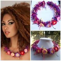Fiber art crochet statement necklace multicolor  purple by Diomios