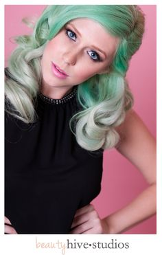 Mint Green hair beauty #retro