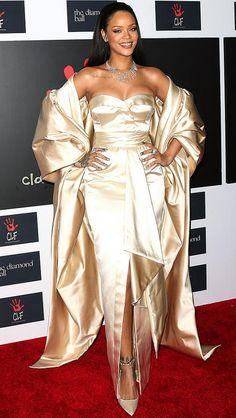 Rihanna in a cream satin Dior dress and shawl at the Diamond Ball