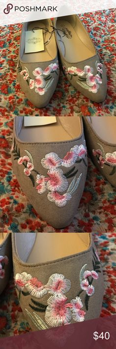 Embroidered flats with beautiful flowers Cute flats with flowers Shoes Flats & Loafers