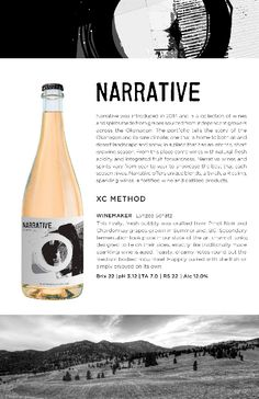 Narrative XC Method 2018 | Crafted from Pinot Noir and Chardonnay grapes in Summerland, BC. Pinot Noir, Notes, Let It Be, Report Cards, Notebook