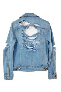 A classic never looked so rad! Natural denim jacket with a mega shredded detailing in back, shoulders and elbows. Button closure at front and chest...