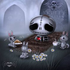 """Skullys always """"dead tired"""" in the morning so it's nice of his friends to bring him breakfast in bed <3"""