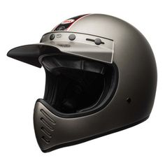 Shop for Bell Moto 3 Helmet - Independent Matte Titanium. A modern and updated version of the classic off-road motorcycle helmet from Bell. Cruiser Motorcycle Helmet, Motorcycle Riding Gear, Riding Helmets, Casque Bell, Bell Moto 3, Retro Helmet, Bell Helmet, Cafe Racer Build, Full Face Helmets
