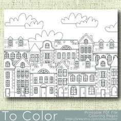 This is our second printable coloring page features a montage of houses and will be fun to color in a variety of ways