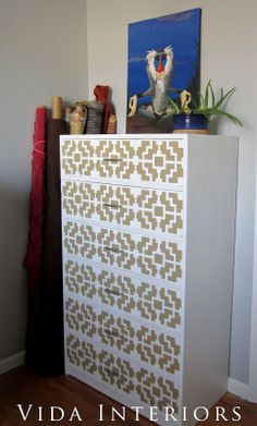 This is a Shipibo Craft stenciled dresser. http://www.cuttingedgestencils.com/shipibo-craft-stencil.html