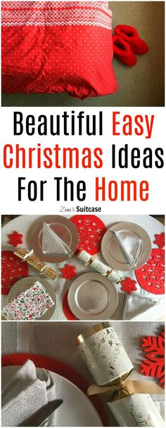 Beautiful Easy Christmas Ideas For The Home - add some gorgeous festive touches to your home with these simple ideas including Nordic inspired red duvet and red and silver themed table settings for Christmas dinner