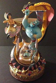 Disney Aladdin Genie Jasmine Jafar Hourglass Snowglobe Music Box Retired EUC