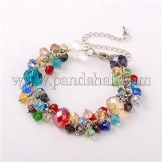 Trendy Faceted Glass Beads BraceletsBJEW-JB01642-06-1