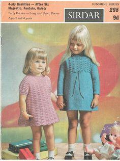 Sirdar 295 sunshine girls dress vintage knitting pattern