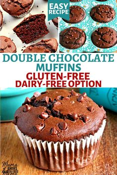 Gluten-Free Double Chocolate Muffins An easy recipe for Gluten-Free Chocolate Muffins. These are super soft bakery-style double chocolate muffins. This gluten-free breakfast recipe also has a dairy-free option. Gluten Free Recipes For Breakfast, Dairy Free Recipes, Free Breakfast, Chocolate Sin Gluten, Chocolate Chip Muffins, Chocolate Chocolate, Gluten Free Chocolate Cupcakes, Gluten Free Bakery, Gluten Free Sweets