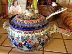 """Wow, look at this """"unikat"""" soup tureen! It's a masterpiece :) Polish pottery"""