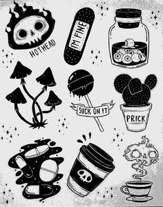 Drawing Doodles Ideas Pinning for the skull steam hovering above the cup Flash Art Tattoos, Body Art Tattoos, Tatoos, Tattoo Sketches, Tattoo Drawings, Art Sketches, Art Drawings, Crazy Drawings, Doodle Tattoo