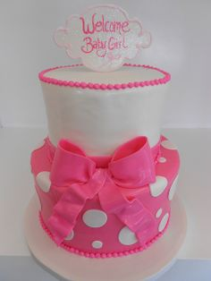 Hot Pink baby shower cake