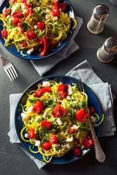 Buy Homemade Zucchini Noodles Zoodles by on PhotoDune. Homemade Zucchini Noodles Zoodles Pasta with Tomatos and Feta Dinner Dishes, Food Dishes, Lunch Recipes, Healthy Recipes, Salad Sauce, Zucchini Noodles, Healthy Eating, Healthy Food, Cooking