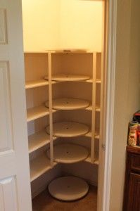 Ultimate organized pantry corner ~ easy to get to Lazy Susan for those hard to get to corners, even one for the floor. Detailed instructions are a click away.
