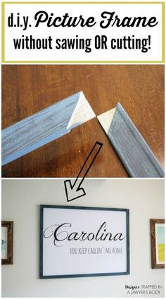 Come learn how to make a DIY picture frame any size you need WITHOUT ANY POWER TOOLS! No sawing or cutting required! Best hack ever. Full tutorial by Designer Trapped in a Lawyer's Body. Cadre Photo Diy, Cadre Diy, Diy Home Decor Projects, Diy Projects To Try, Craft Projects, Decor Ideas, Craft Ideas, Diy Ideas, Do It Yourself Furniture