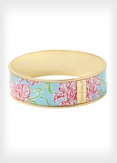 Twenty percent of the proceeds from this floral Lilly Pulitzer bangle will be donated to the American Cancer Society . More awesome products to support the breast cancer awareness: http://www.womenshealthmag.com/life/breast-cancer-awareness-merchandise-2013
