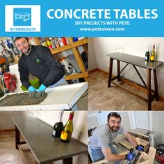 EXCELLENT step-by-step instructions on how to build concrete table tops or counter tops for beginners!How to build a concrete table for beginners Concrete Crafts, Concrete Projects, Concrete Design, Outdoor Projects, Concrete Furniture, Furniture Projects, Furniture Making, Do It Yourself Furniture, Do It Yourself Home