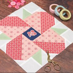 Here is the Rosemary block from my Garden Sampler BOM booklet. Lovin these fabrics! What will you be sewing this weekend? these fabrics Quilt Block Patterns, Pattern Blocks, Quilt Blocks, Quilt Kits, Quilting Projects, Quilting Designs, Sewing Projects, Quilting Ideas, Small Quilts