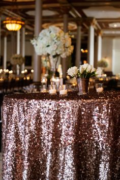 Sparkly Linens | Sequin Linens| Candles | White Roses | Cocktail Tables | Bouquets of Austin | Marquee Event Group | The Driskill | Kristi Wright Photography | Pearl Events Austin