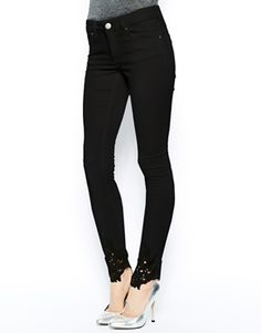 ASOS Whitby Low Rise Skinny Jeans in Black with Crochet Hem