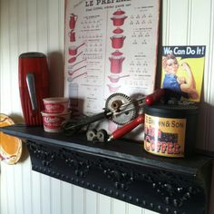 Red antique kitchen decor...I have been buying these red ones up so quick!